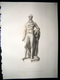 Statues/Sculpture 1858 Steel Engraving. William Pitt, Antique Print